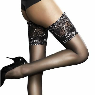 Fiore SANDRINE Stockings Thigh High Hold Ups Lace Top Nylons Hosiery FREE SHIP