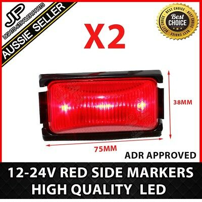 Bulk Pack Of 2 Led Clearance Lights,  Red Side Marker Trailer Truck Ute Caravan