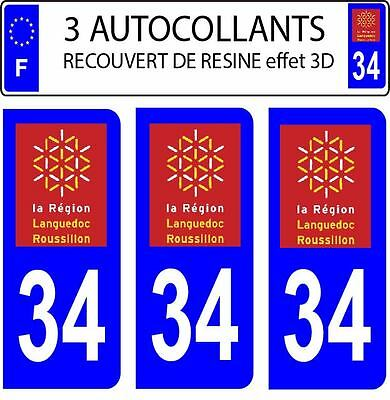 3 stickers plaque immatriculation auto DOMING 3D RESINE LANGUEDOC ROUSSILLON N34