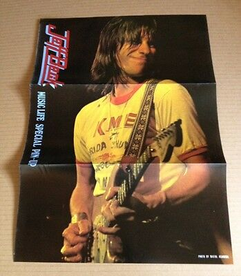 1976 Jeff Beck vintage JAPAN mag pinup poster / unseen pic / japanese mint RARE!