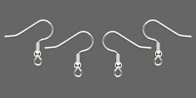 24 each Silver Plated Stainless Steel Ear Wires Hooks w/ Bead Coil end~ Earrings