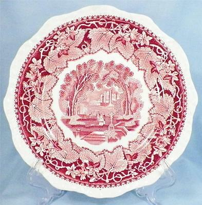 Vista Salad Plate Masons England Pink Transferware Ironstone People Castle AS IS