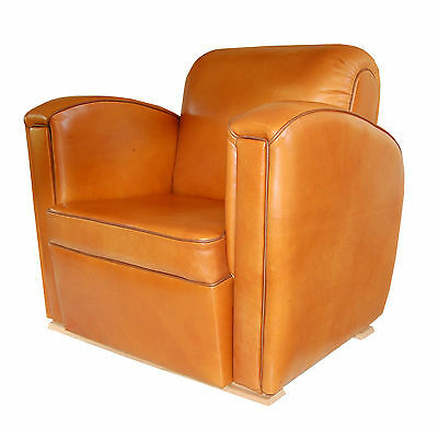 New Handmade Art Deco Club Armchair in Tan Leather
