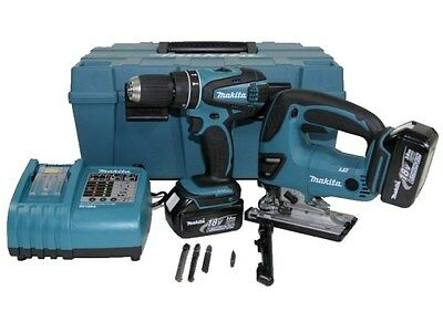 Makita DK1893 18v Combi Drill and Jigsaw Kit 2 x 3.0ah Li-ion