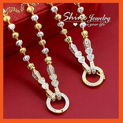 18K GOLD GF N114 FIGARO CURB CHAIN for pendant LADIES GIRLS SOLID NECKLACE 45CM
