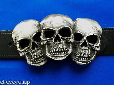 Triad Rictus 3 faces of Death Gothic Biker Hand Made From Pewter In The UK