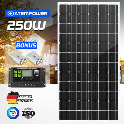 250W 12V Mono Solar Panel Kit Caravan Camping Power Battery Charging Home