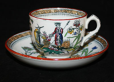 ANTIQUE c.1870 EDGE AND MALKIN CHANG CHINOISERIE CUP AND SAUCER POLYCHROME