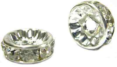 20Pcs X Crystal Round Rhinestone Spacer Beads For Jewellery Making  - A20