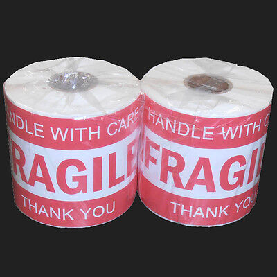 500x Fragile Handle With Care Thank You Adhesive Label 127x76mm Sticker Roll