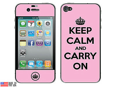 Keep Calm and Carry On Pink - Skin Sticker Case for Apple iPhone 4 4S - Set of 2