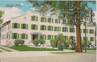 Colonial Hotel Florence SC Postcard