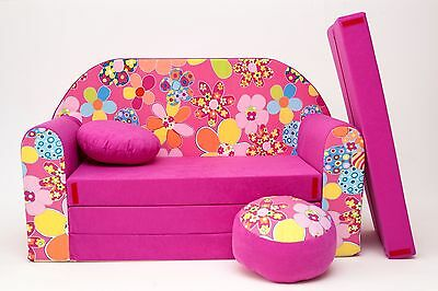 Kids Sofa Bed Childs Furniture + Free Pouffe Footstool & Pillow