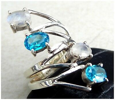 925 Sterling Silver BLUE TOPAZ MOONSTONE Semi Precious GEMSTONE RING SIZE P 1/2