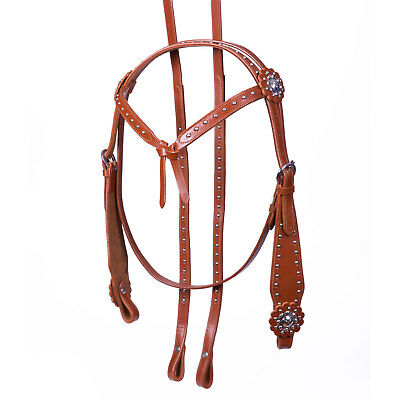 NEW Cob Western Show Bridle Tan Leather Split Reins Silver Knot Knotted Browband