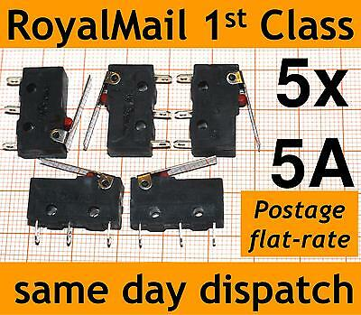 5x 5A Microswitch Lever Actuator (SPDT micro switch V4) SS-5 3D Printer Endstop