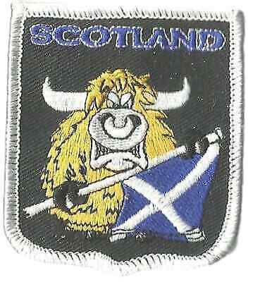Scotland Muckle Coo Flag Crest World Embroidered Patch Badge