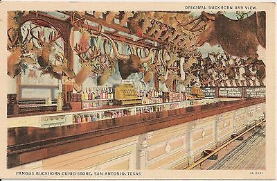 Buckhorn Bar at Buckhorn Curio Store San Antonio Texas TX Postcard