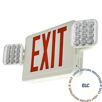 ALL LED Red Exit Sign & Emergency Light - Combo - Pack of 2 UL COMBOR2