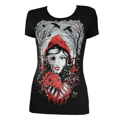 Restyle Red Riding Hood Zombie Heart Horror Gore Black Short Sleeved Tshirt Top