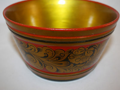 Vintage Russian Laquer Hand Painted Wooden Bowl, Original Label