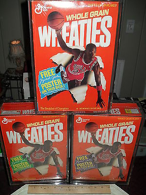 MICHAEL JORDAN / WHEATIES #73Z (3) SEALED CEREAL BOXES A,B & C w/ CASES *LQQK*