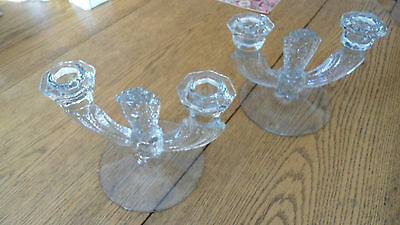 Pair of Art Deco Glass Candle Holders