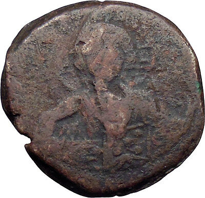 JESUS CHRIST Class B Anonymous Ancient 1028AD Byzantine Follis Coin CROSS i30656