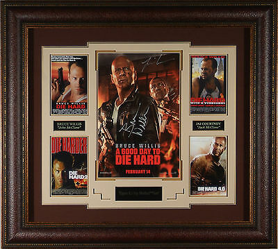 Bruce Willis Autographed IT'S A GOOD DAY TO DIE HARD 5 Framed 11x17 Jai Courtney