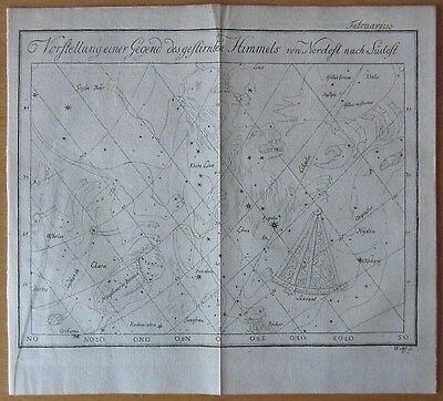 Bode: Decorative Celestial Map for February  - 1778
