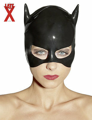 Maschera in lattice nero Latex Cat Mask Black Fetish Sexy Toy Bondage Erotic xxx