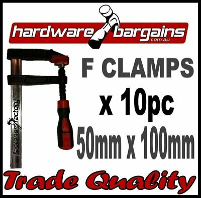 50mm x 100mm F CLAMPS (10pc) - QUICK ACTION F-CLAMP WOODWORK/METALWORK CLAMPS