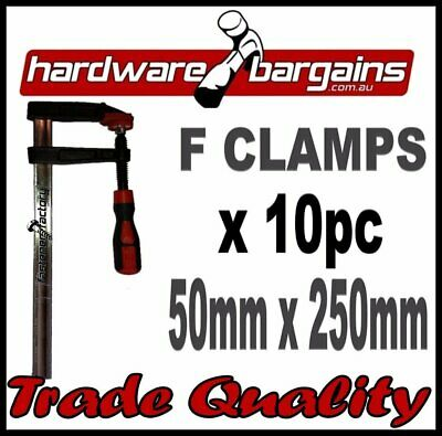 50mm x 250mm F CLAMPS (10pc) - QUICK ACTION F-CLAMP WOODWORK/METALWORK CLAMPS