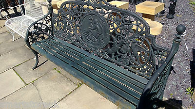 STUNNING CAST IRON LARGE GARDEN LADY BENCH - (Green 597)