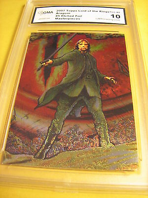 Aragorn 2007 Topps Lord Of The Rings Masterpieces  Etched Foil Art # 5 Graded 10