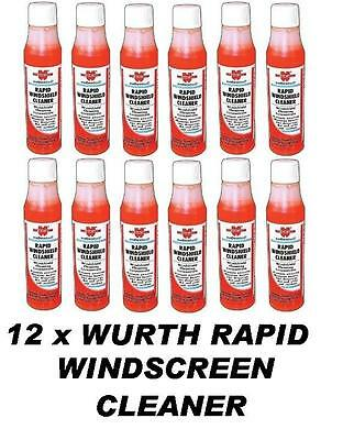 12 x WURTH Rapid Windscreen Cleaner 32ml Concentrate Screen Wash makes 30-36lt