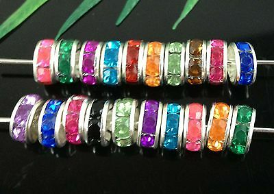 Free Ship 100Pcs 15Color Silver Plated Crystal Spacer Beads 8mm