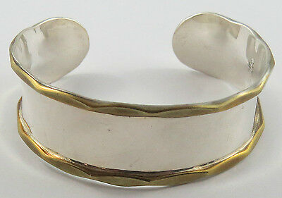 Br-17 Mexico Sterling .925 Silver And Gold Plated Open Cuff  Bracelet  22 Grams