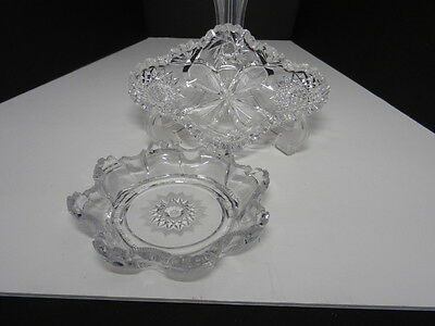 Leaded Crystal Cut Glass Bowls Hobstars by Diamond Glass and an ABP Relish