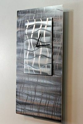 Statements2000 Modern Metal Silver Wall Art Clock Abstract Decor by Jon Allen