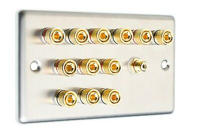 6.1 AV Audio Speaker Wall Face Plate Stainless Steel Gold Binding Posts