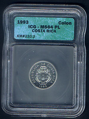 COSTA RICA 1993 ICG SLABBED & GRADED COLON as PROOFLIKE MINT STATE 65 KM # 210.2