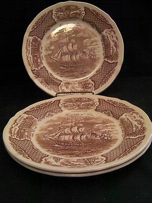 """3 Dinner Plates """"The Friendship of Salem"""" ~ Alfred Meakin Staffordshire England"""