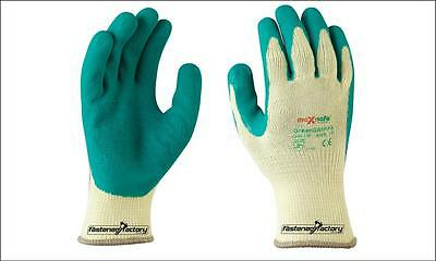 GREEN GRIPPA GARDEN GLOVES RUBBER LATEX COATED GLOVES  x 8 PAIRS RRP $7.90ea