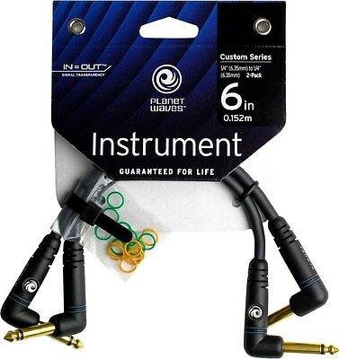 """Planet Waves Custom Series Patch Cable 2 x 6"""" PW-PRA-205.- Lifetime Guarantee"""