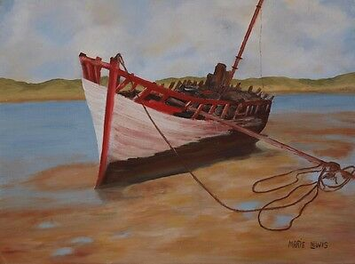 Original signed Irish Oil Painting by Artist MARIE LEWIS - Beached Boat