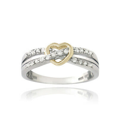 925 Silver Two-Tone 1/5ct Diamond Twist & Heart Promise Ring