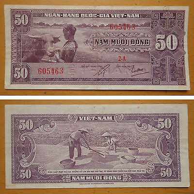 South Vietnam Paper Money 50 Dong 1956 Used