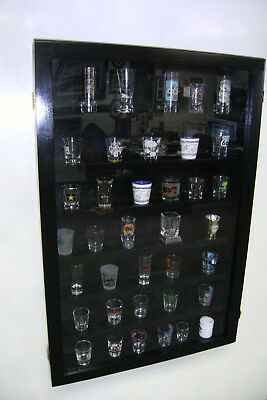 Shot Glass Display Case Black,Cherry, Walnut, or Gold