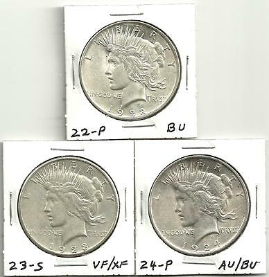 3 Coin Lot__Peace Silver Dollars __1922-P__1923-S__1924-P__90% Silver__#1322LB10